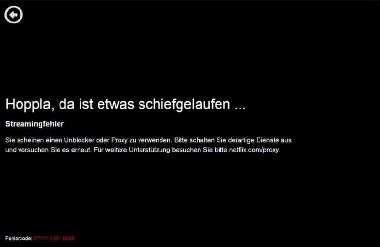 Netflix Fehlermeldung