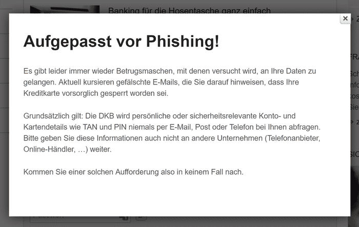 Bild Phishing Screenshot DKB