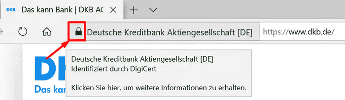 Screenshot Sicherheitszertifikat