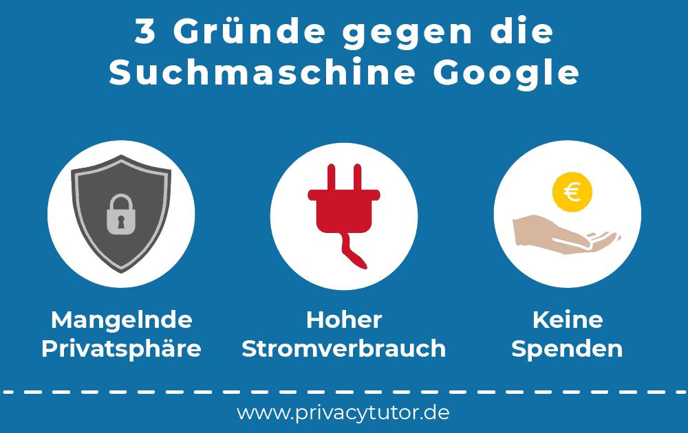 Infografik 3 Gründe gegen Google