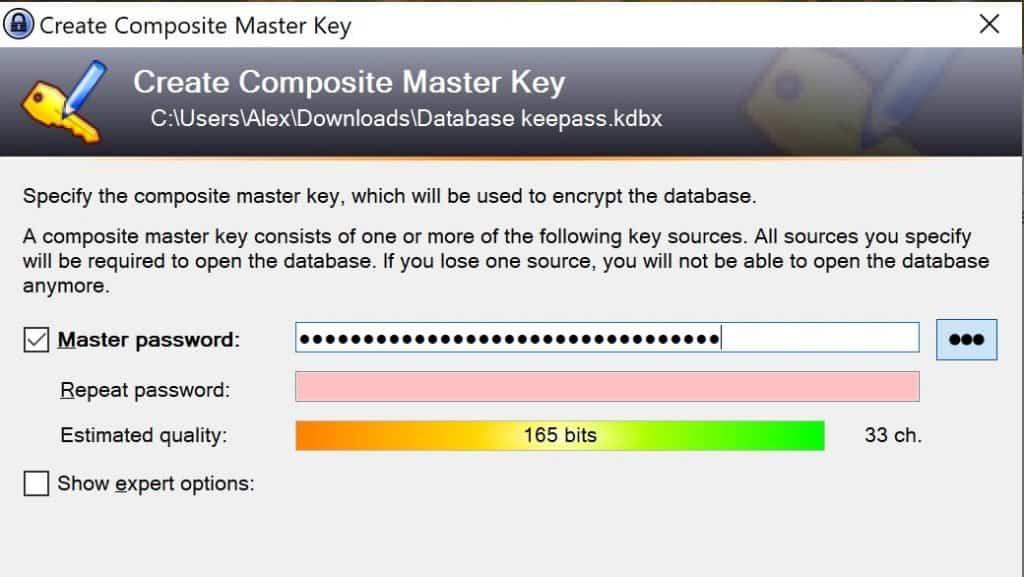 Keypass Masterpasswort