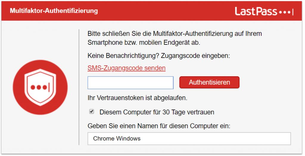 Screenshot Lastpass 2 Faktor Authentifizierung