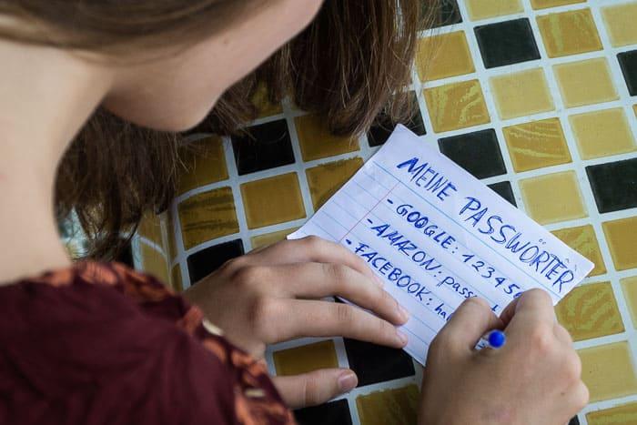 Passwörter aufschreiben