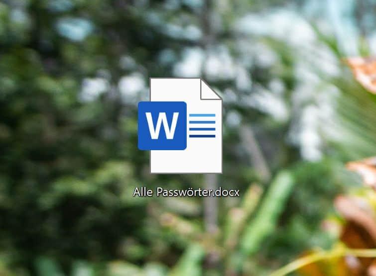 Word-Dokument mit allen Passwörter