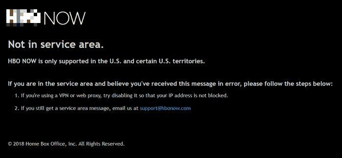 HBO in Deutschland: Fehlermeldung