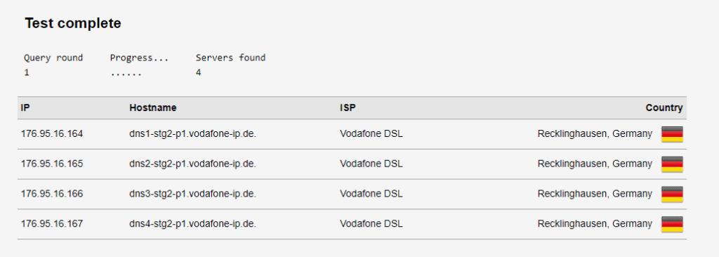 DNS Test ohne VPN