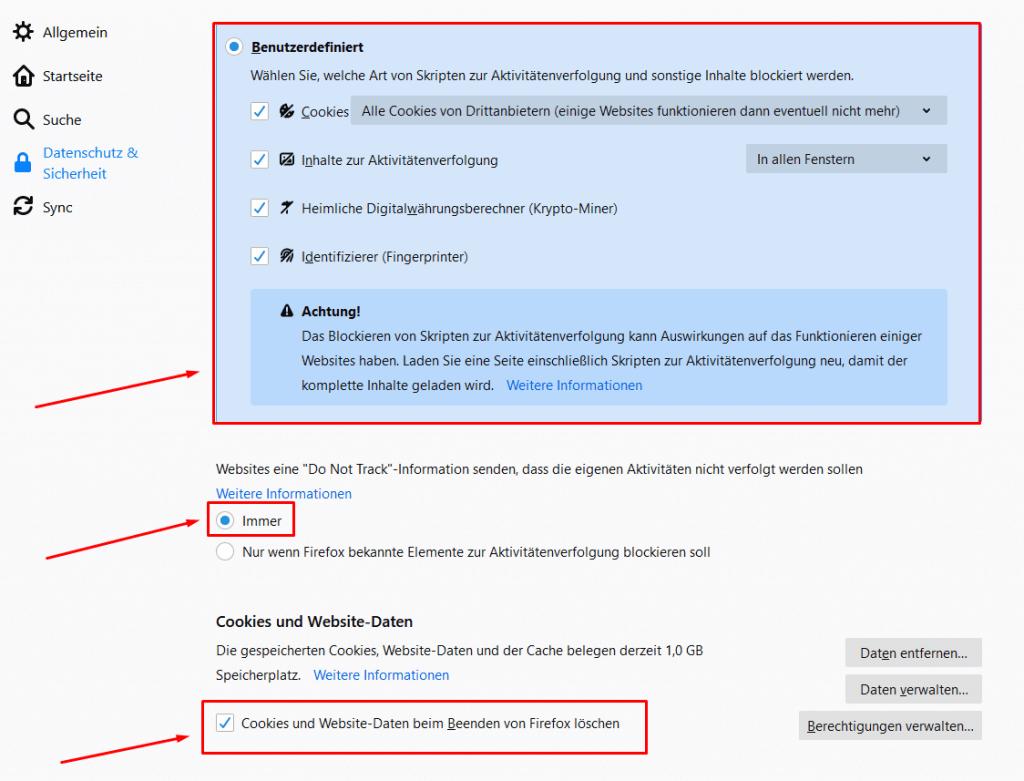 Cookie-Einstellungen bei Mozilla Firefox