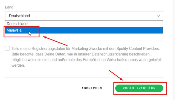 Spotify Land ändern