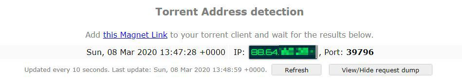 Torrent-IP-Test ohne VPN