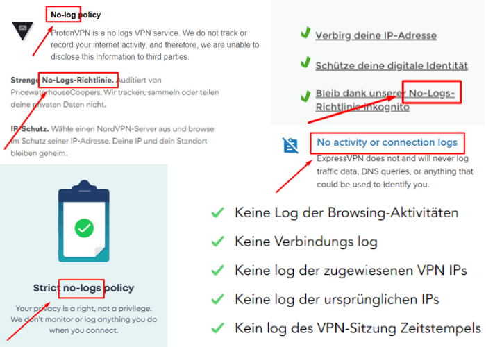Screenshot VPN-Anbieter keine Logs