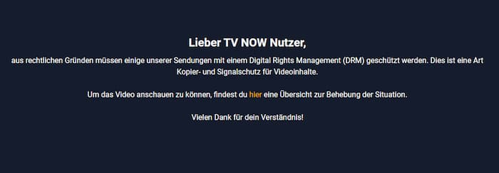 TVNOW im Ausland ansehen: Screenshot der Fehlermeldung