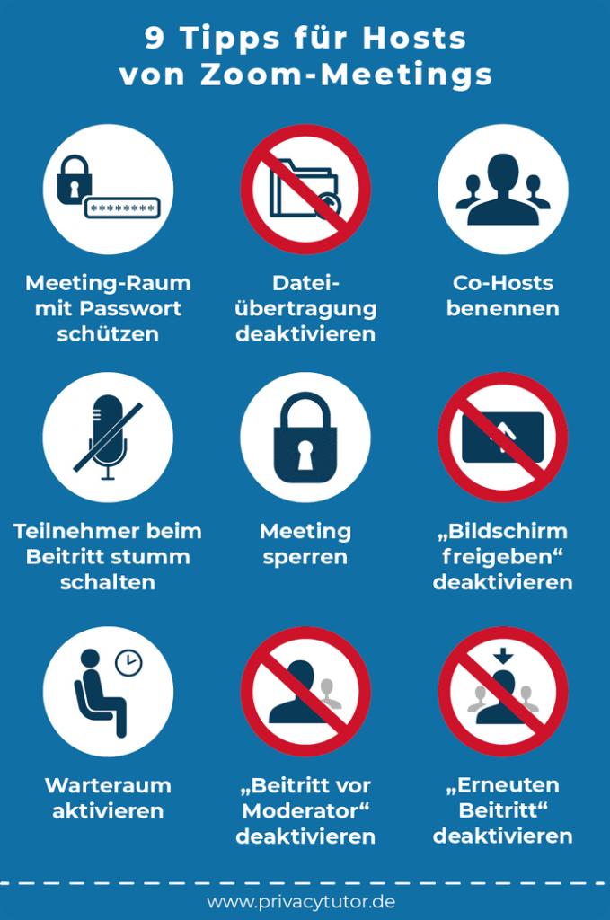Infografik 9 Tipps für Hosts von Zoom-Meetings