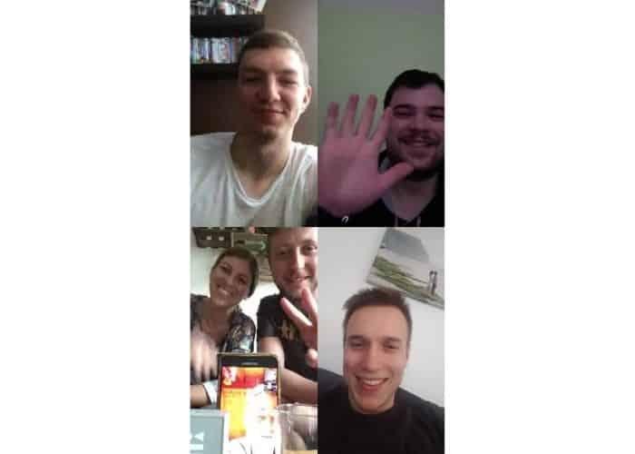 WhatsApp Screenshot mit 4 Personen im Videochat