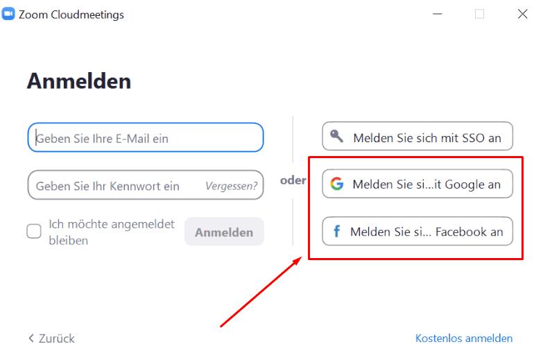 Zoom Anmeldung Google Facebook