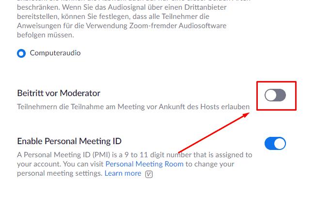 Beitritt vor Moderator bei Zoom