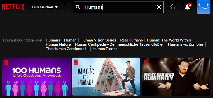 Netflix Humans ohne VPN