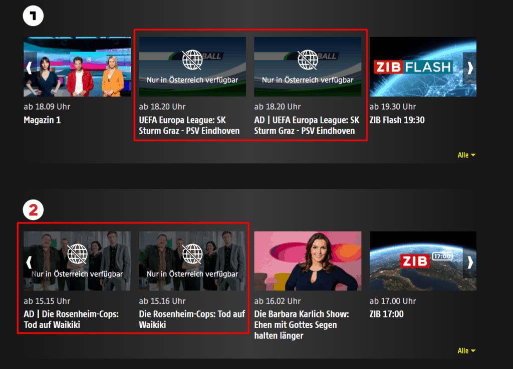 ORF Geoblocking