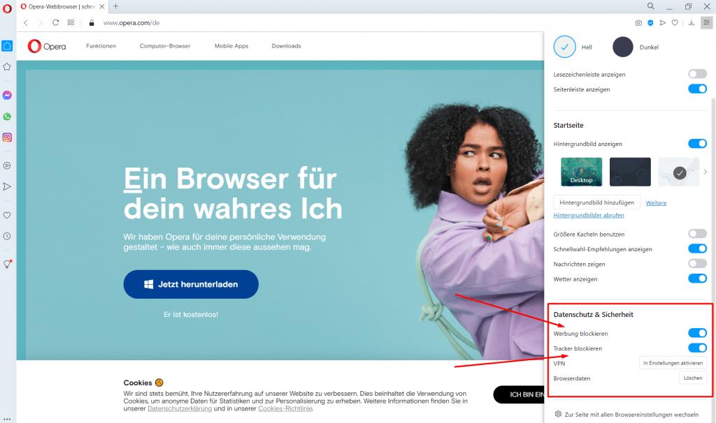 Browser Test opera Tracker blockieren