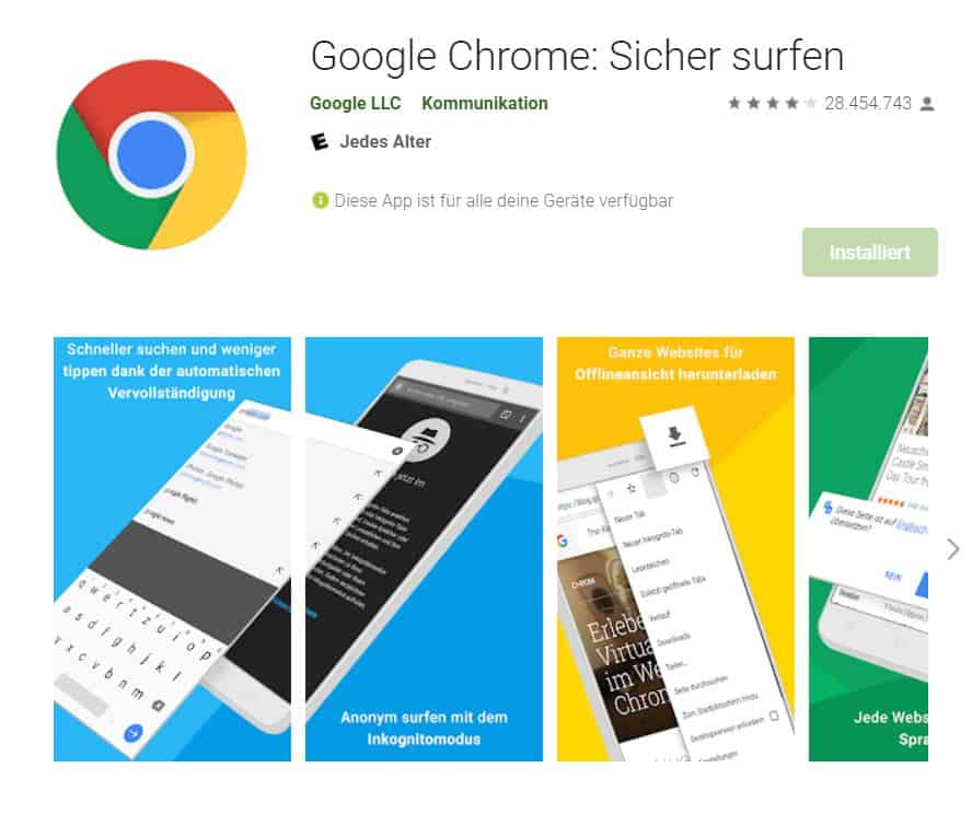 Browsertest Android Google Chrome