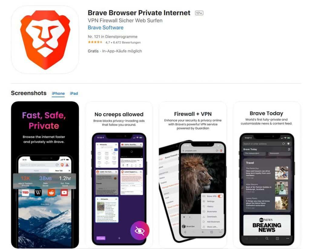 Browsertest iPhone Brave Browser