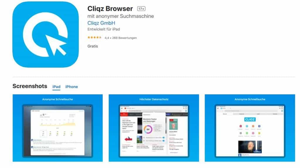 Browsertest iPhone Cliqz Browser