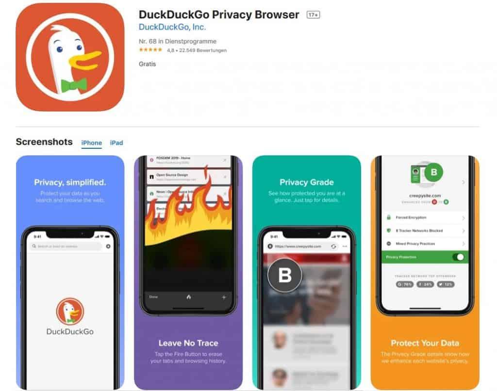 Browsertest iPhone DuckDuckGo