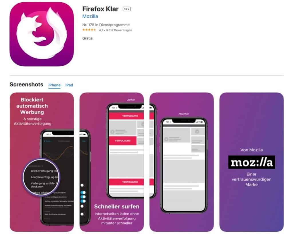 Browsertest iPhone Firefox Klar