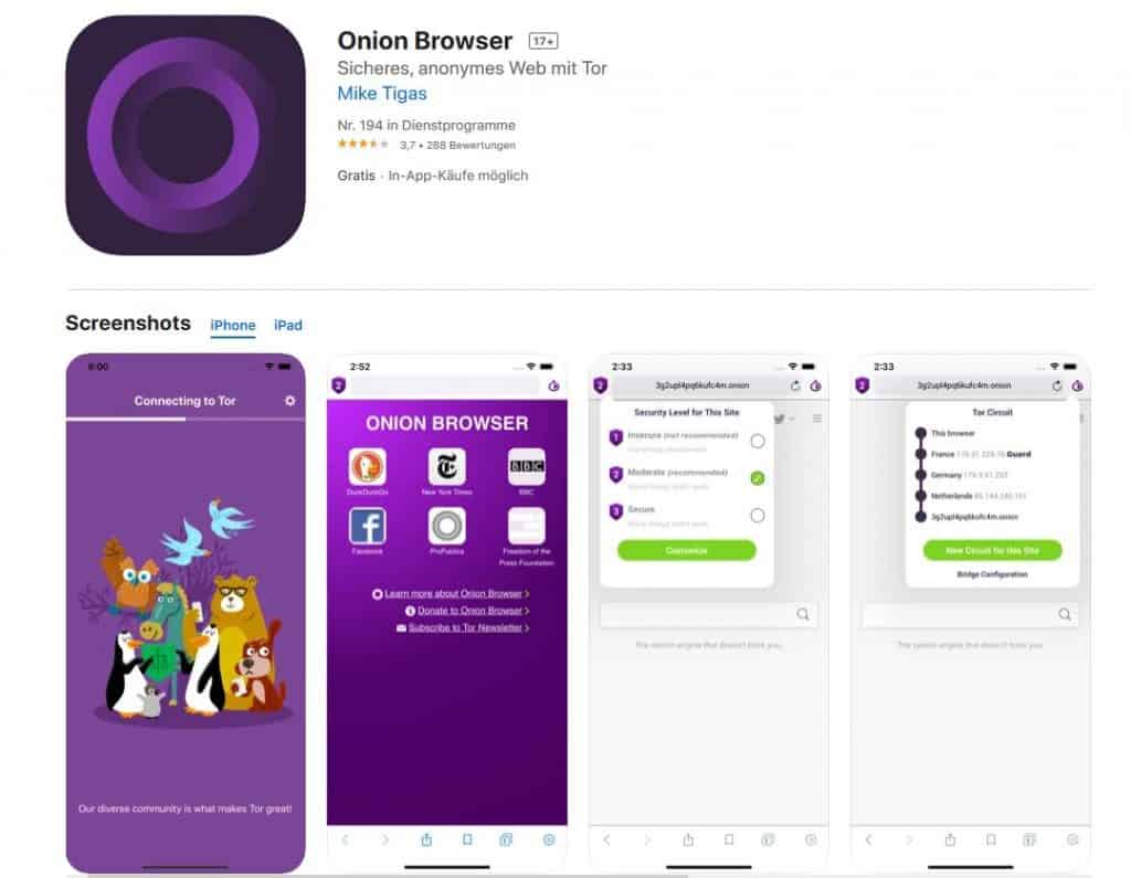 Browsertest-iPhone Onion Browser