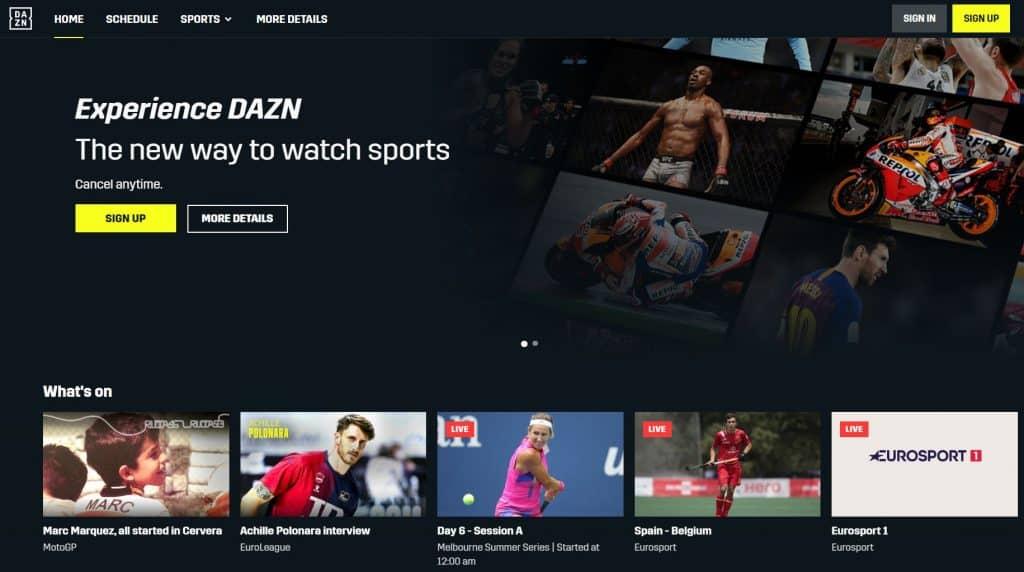 DAZN Homepage