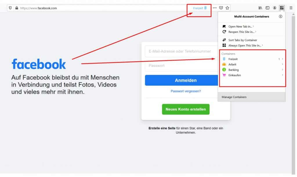 Firefox FB Multi Account Containers