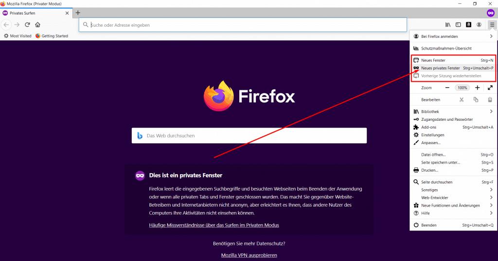 Firefox Inkognitomodus