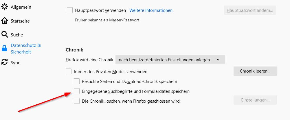 Firefox Autofill deaktivieren