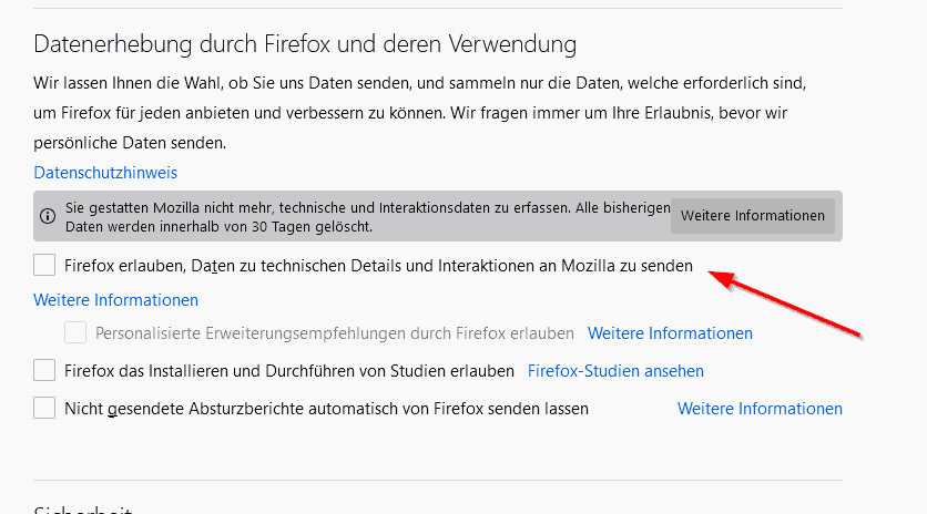 Firefox Datenerhebung