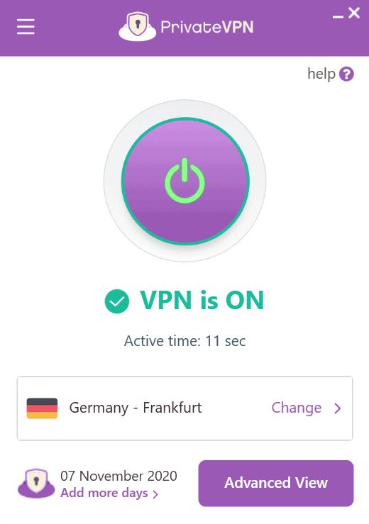 VPN-Client Screenshot von PrivateVPN
