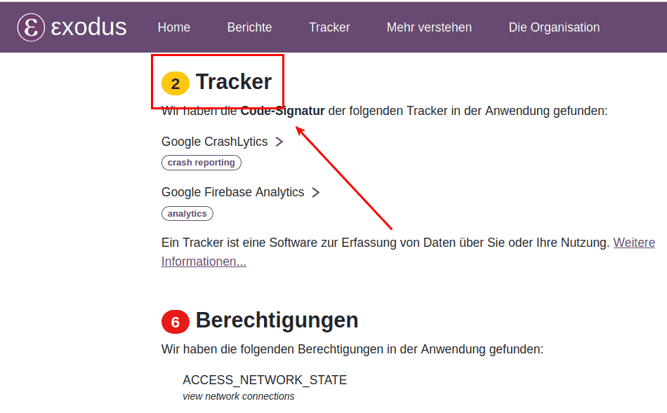 Screenshot der Tracker von PrivateVPN auf Exodus Privacy