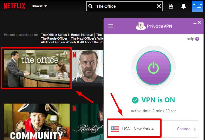 Screenshot PrivateVPN mit Netflix