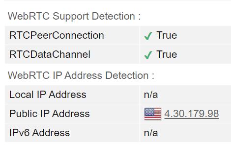 PrivateVPN WebRTC Test Screenshot