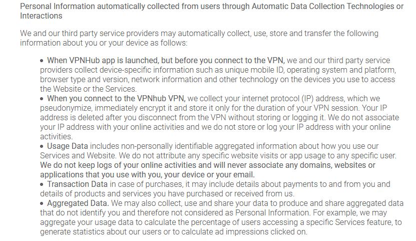 vpnhub Datenschutzerklärung