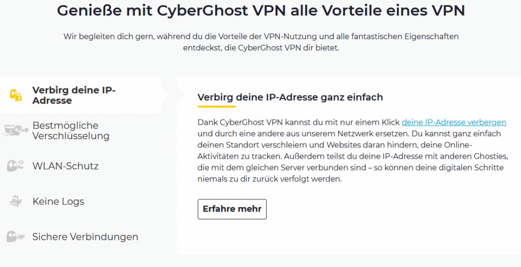 cyberghost funktionen