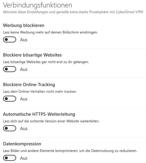 cyberghost Verbindungsfunktionen
