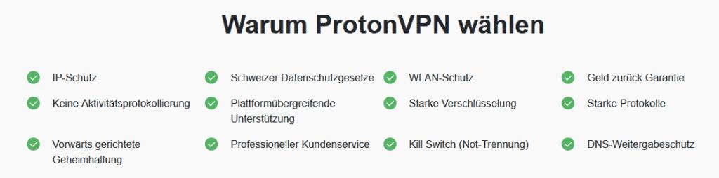 protonvpn Features