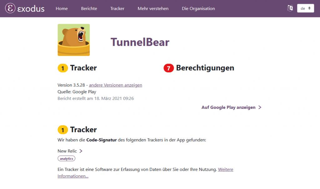 tunnelbear Exodus