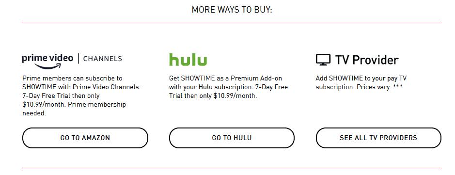 Showtime Hulu Prime